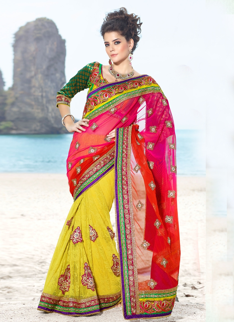 Sensational Beads And Lace Work Designer Saree
