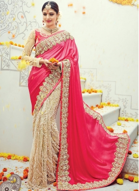 Sensational  Beige and Rose Pink Beads Work Half N Half Trendy Saree