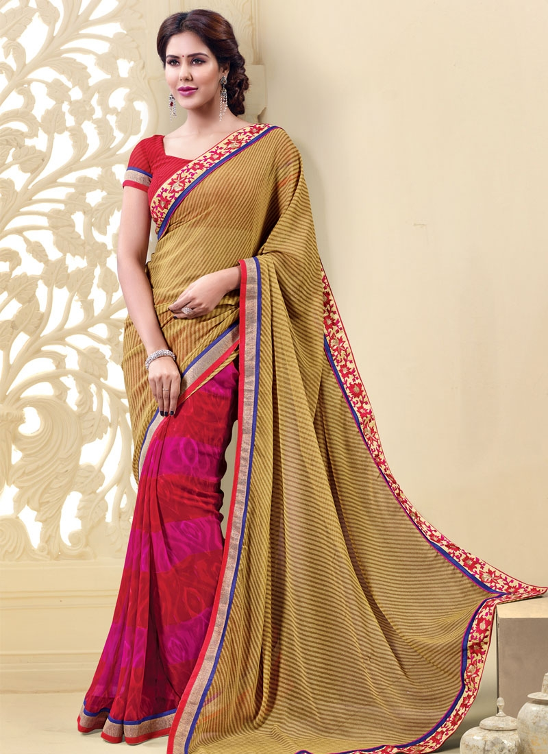 Sensational Beige Color Resham Work Half N Half Casual Saree