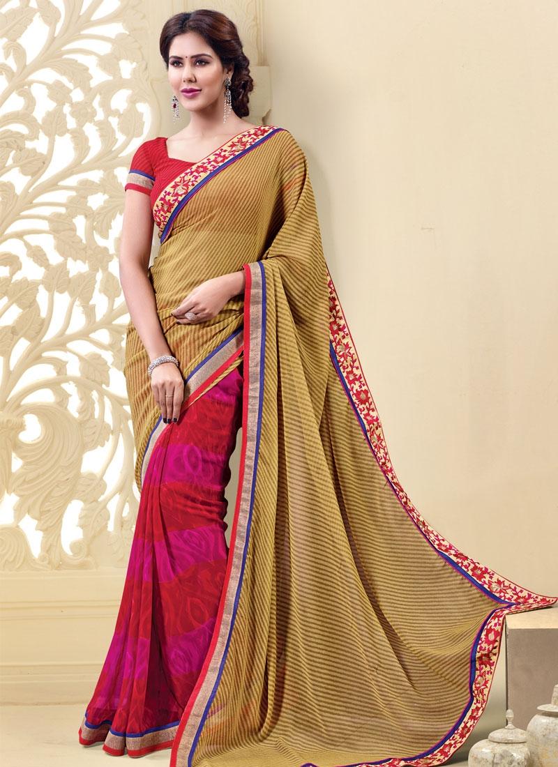 Sensational Beige Color Resham Work Half N Half Casual Saree