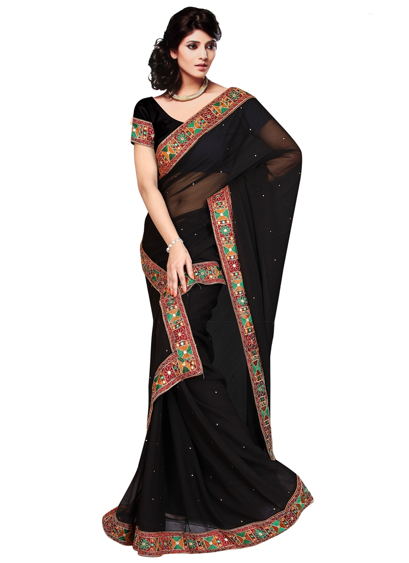 Sensational Black Color Mirror Work Casual Saree