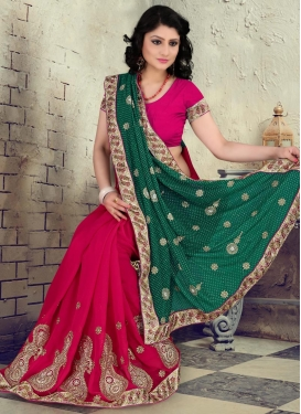 Sensational Booti Work Faux Georgette Green Half N Half Trendy Saree For Ceremonial
