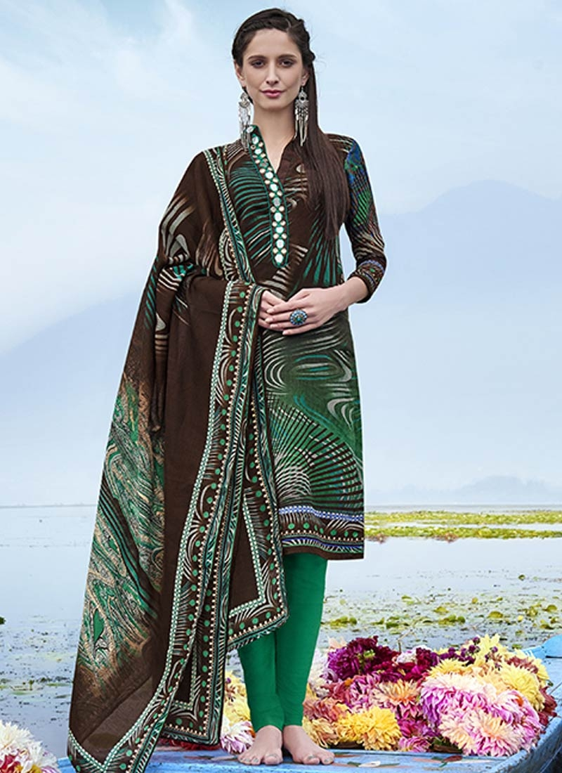 Sensational Coffee Brown And Green Color Casual Suit