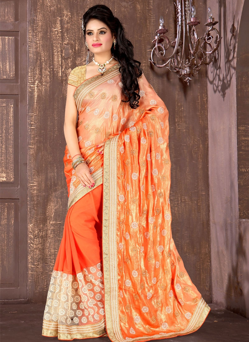 Sensational Crush Orange Color Wedding Saree