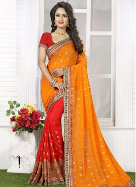 Sensational Embroidered Work  Half N Half Saree