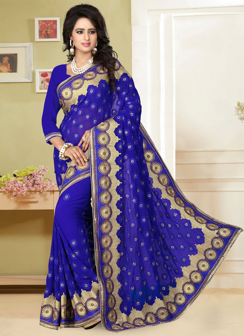 Sensational Faux Georgette Lace Work Designer Saree