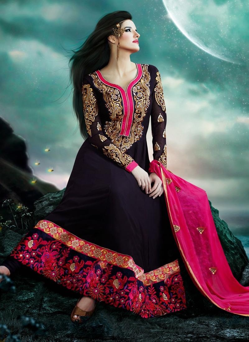 Sensational Floral And Karachi Work Anarkali Suit