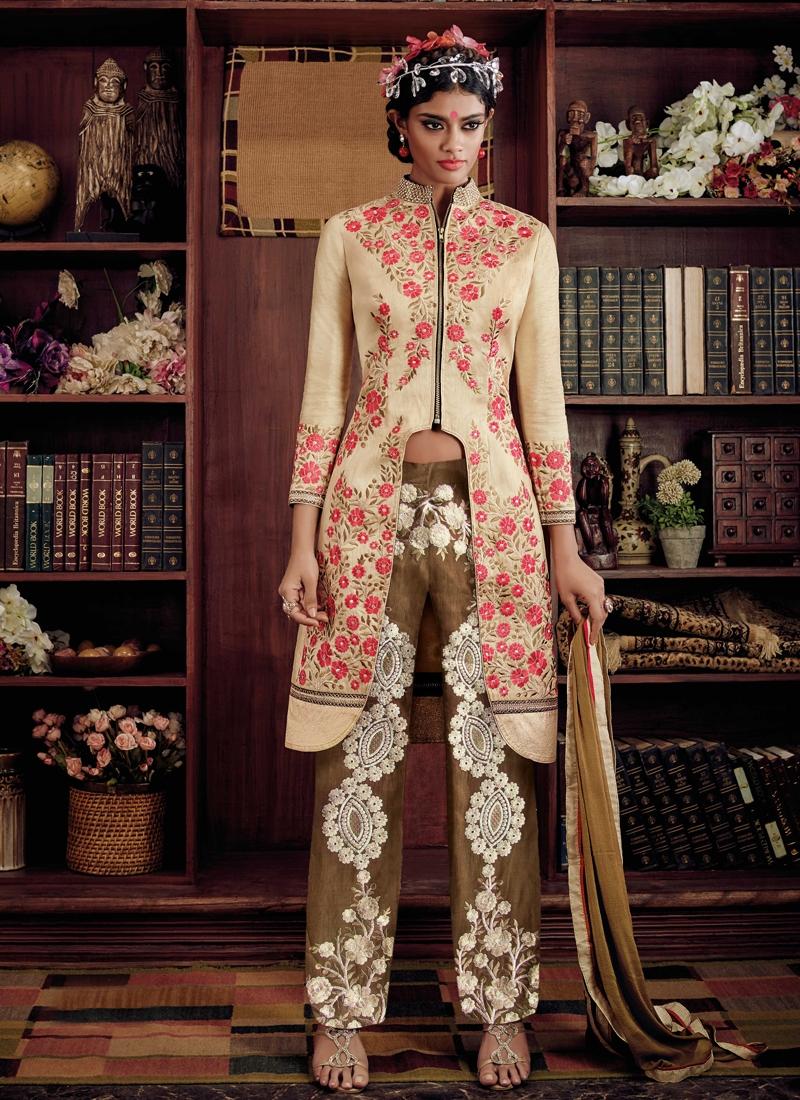 Sensational Floral Work Pant Style Designer Suit