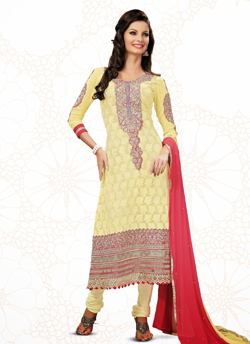 Sensational Gold Zardosi Work Party Wear Suit