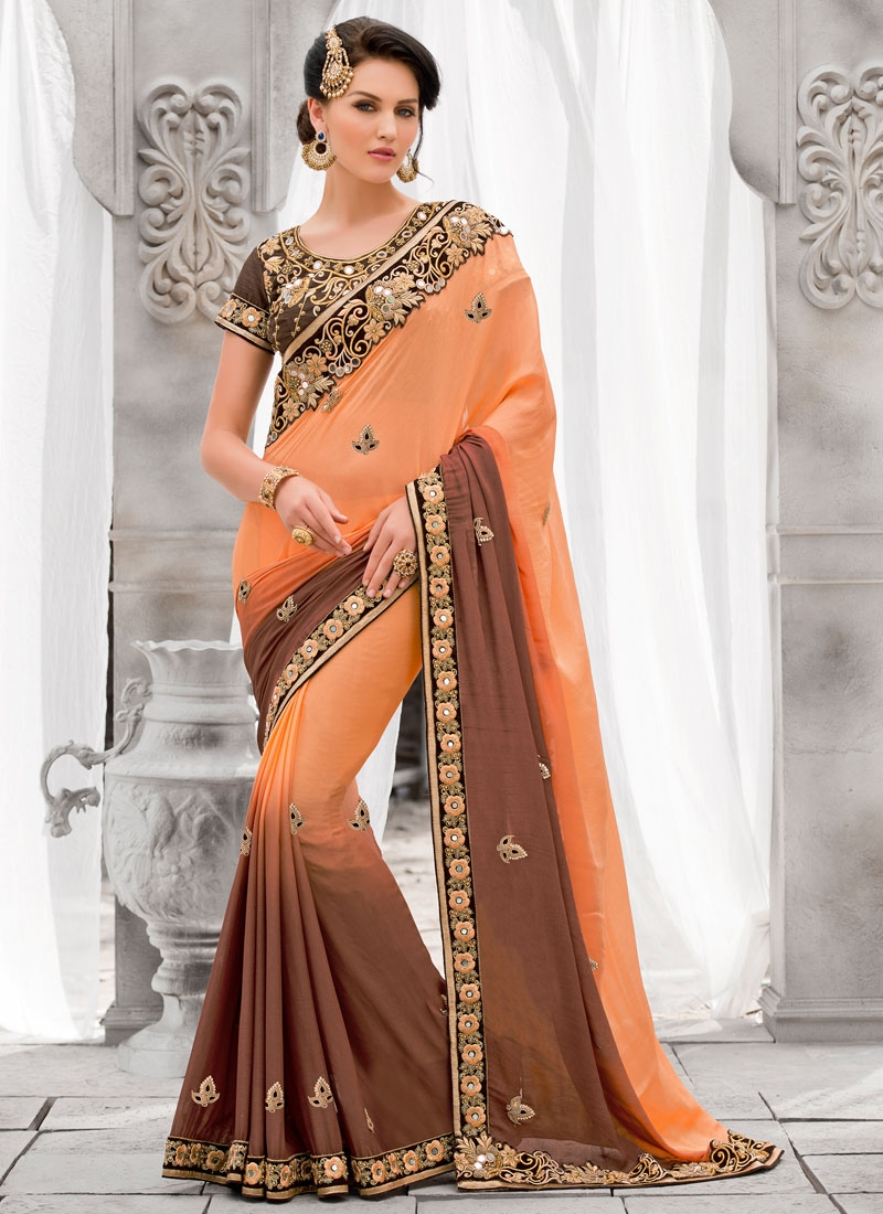 Sensational Mirror And Beads Work Designer Saree
