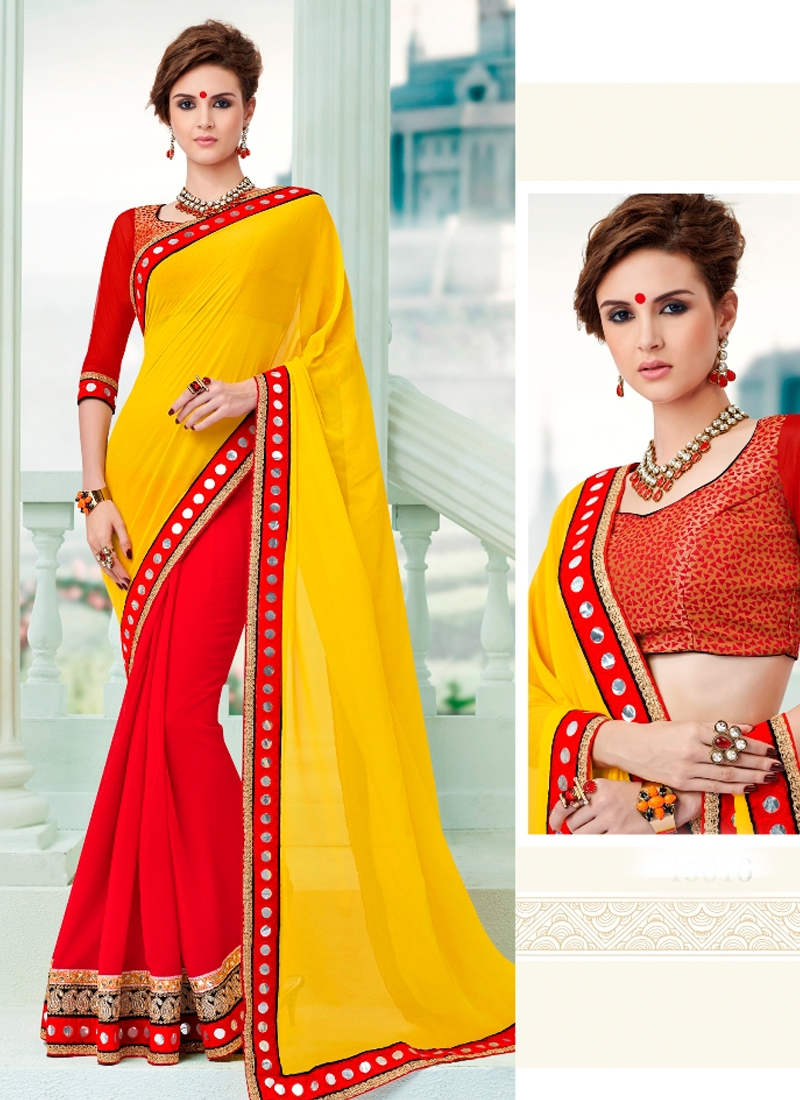 Sensational Mirror Work Half N Half Designer Saree