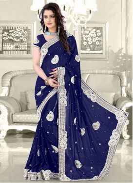 Sensational Navy Blue Color Wedding Saree