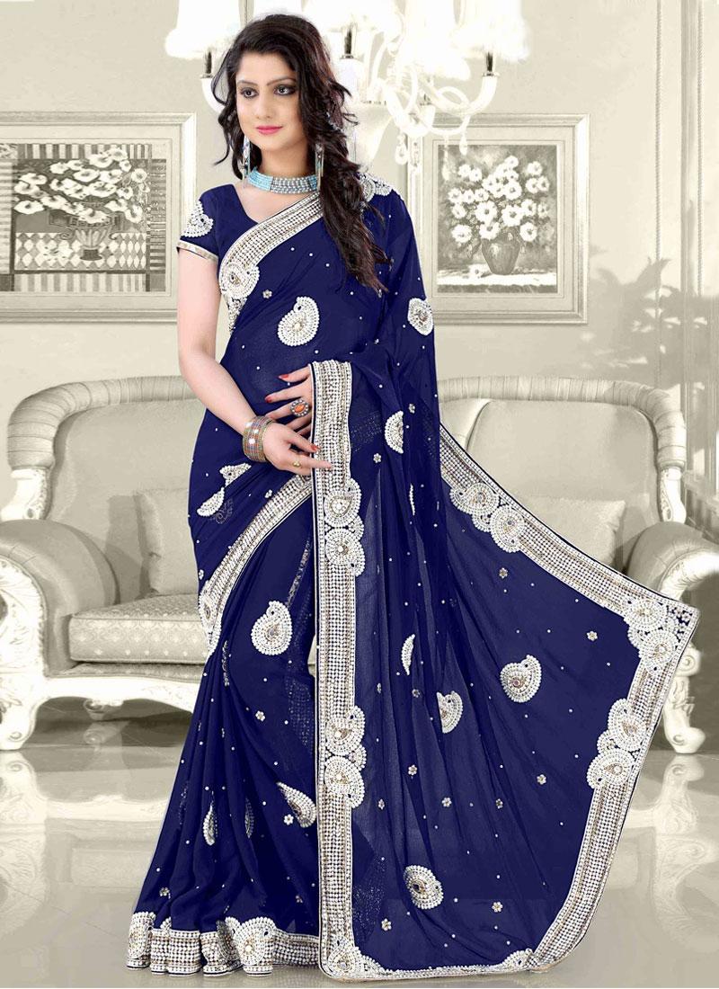 Sensational Navy Blue Color Wedding Saree