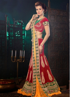 Sensational Patch And Beads Work Wedding Lehenga Choli