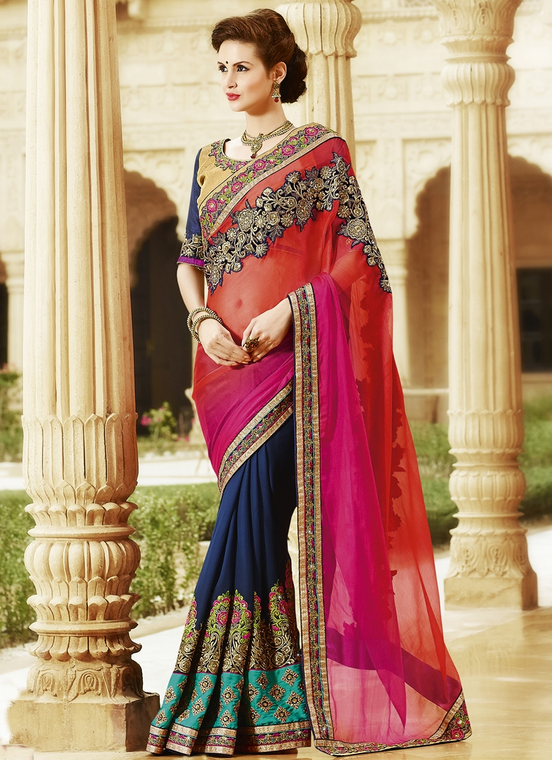 Sensational Patch Border Work Half N Half Wedding Saree