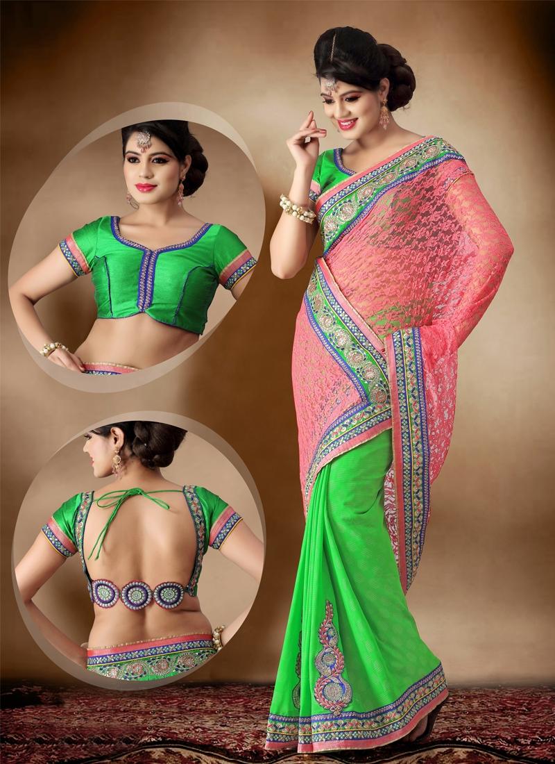 Sensational Resham Enhanced Half N Half Saree