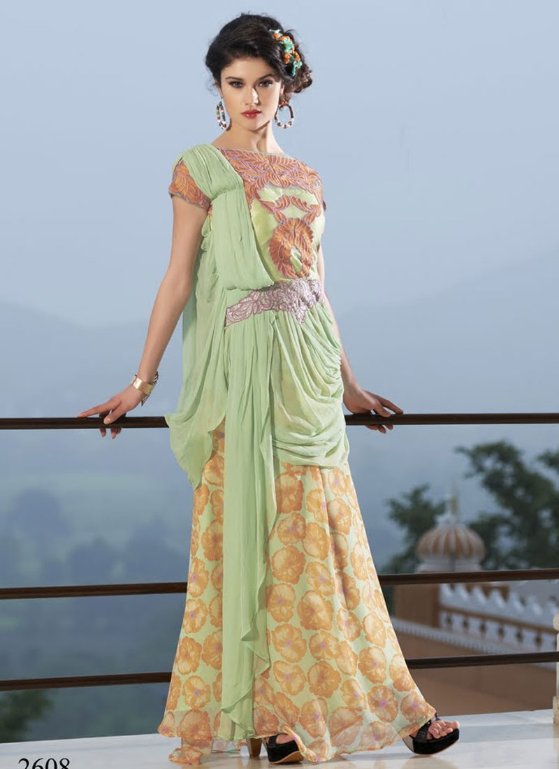 Sensational Resham Work Designer Readymade Gown