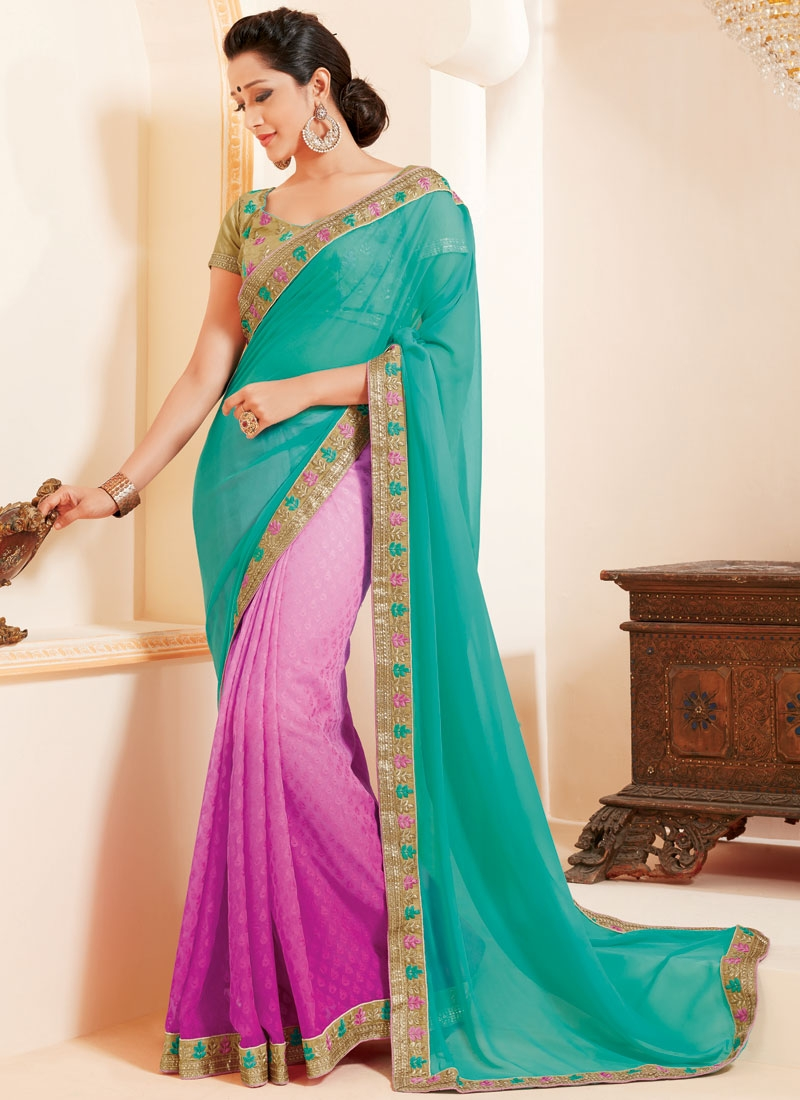Sensational Resham Work Faux Georgette Half N Half Party Wear Saree