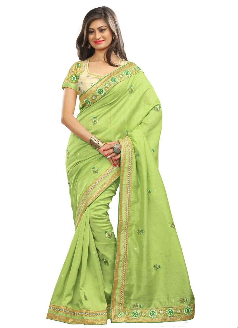 Sensational Resham Work Mint Green Color Party Wear Saree
