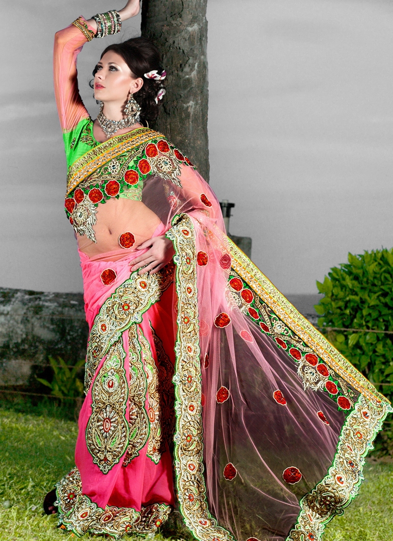 Sensational Rose Pink Color Net Designer Saree