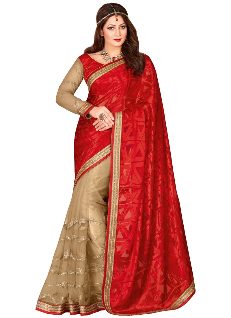 Sensational Stone Work Red Color Half N Half Designer Saree