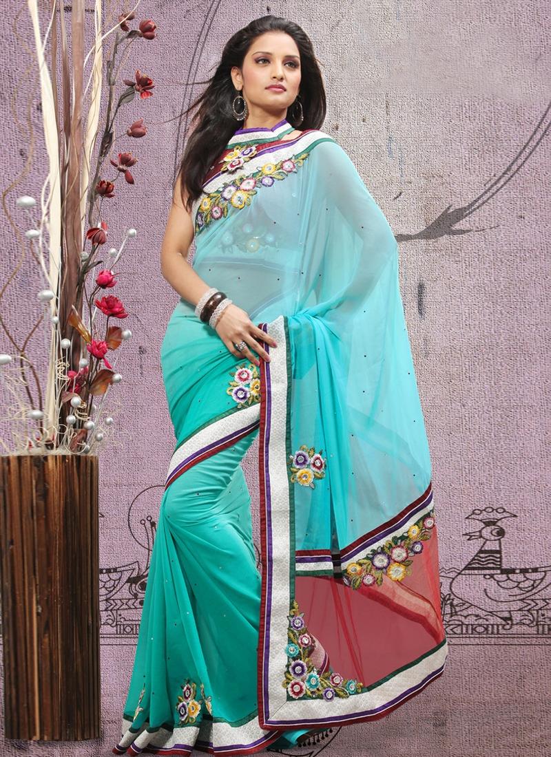 Sensational Turquoise Color Party Wear Saree