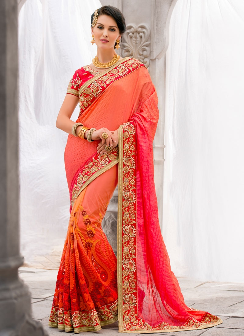 Sensible Beads Work Net Wedding Saree
