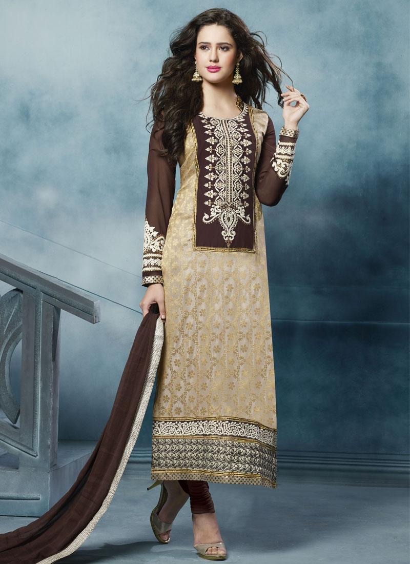 Sensible Beige And Coffee Brown Color Casual Salwar Suit