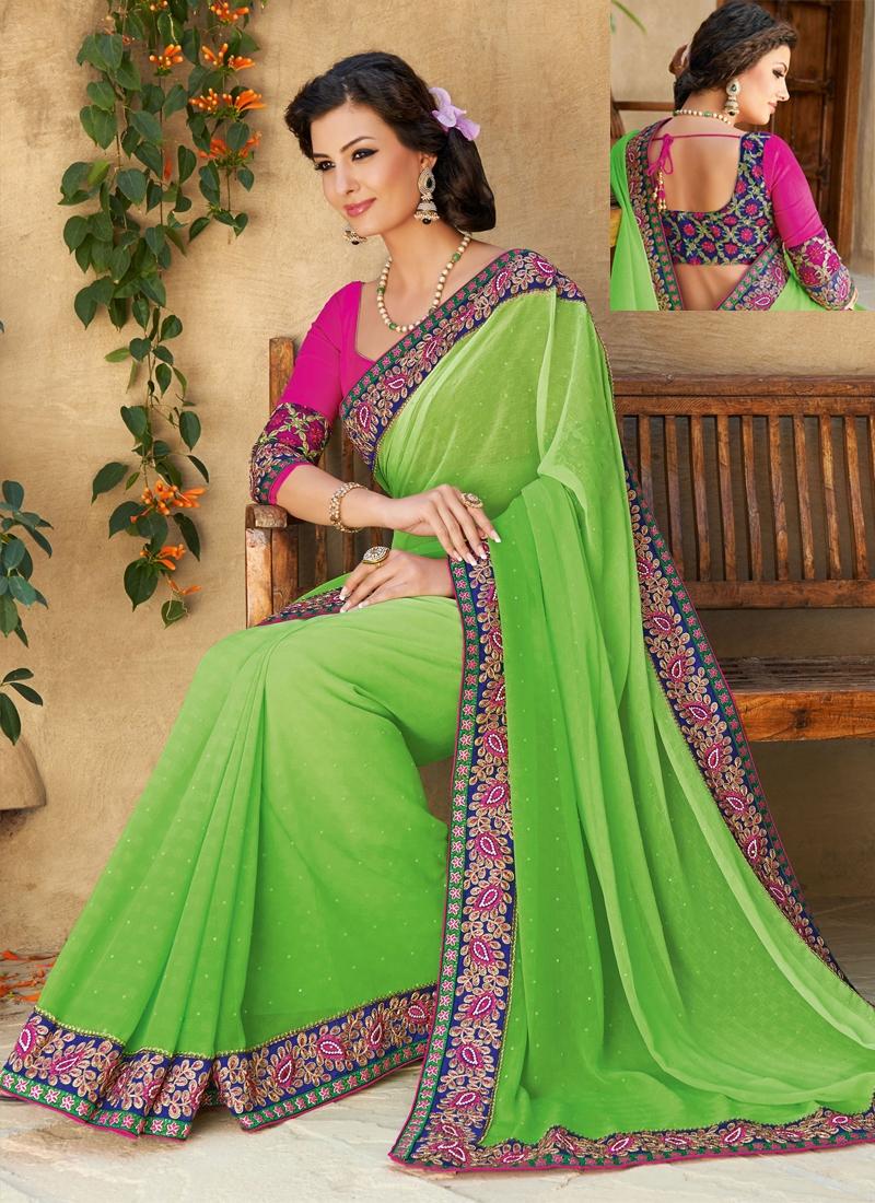 Sensible Green Color Chiffon Party Wear Saree