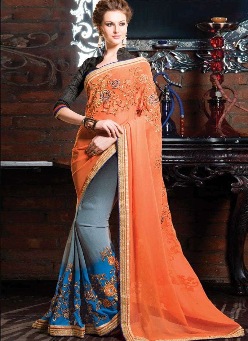 Sensible Jaal And Resham Work Half N Half Party Wear Saree