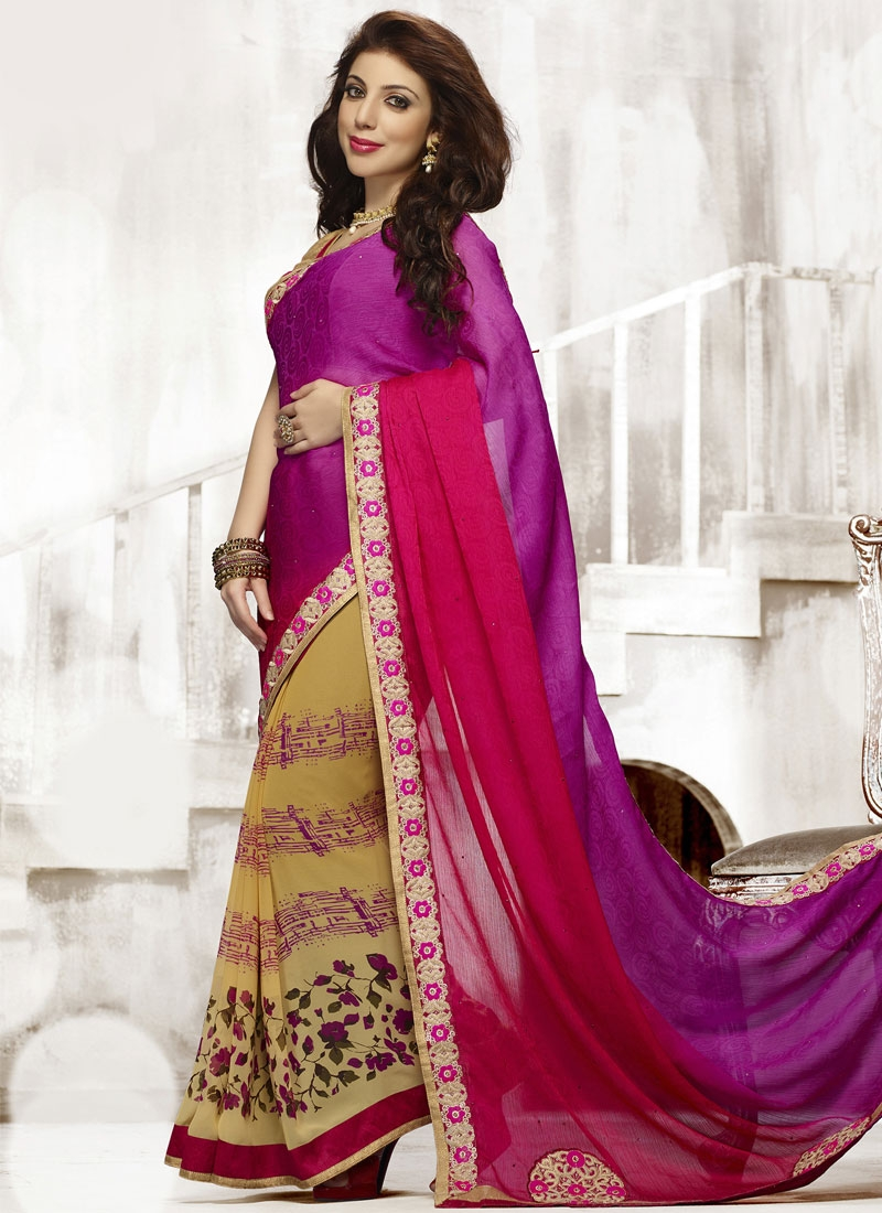 Sensible lace And Booti Work Half N Half Casual Saree