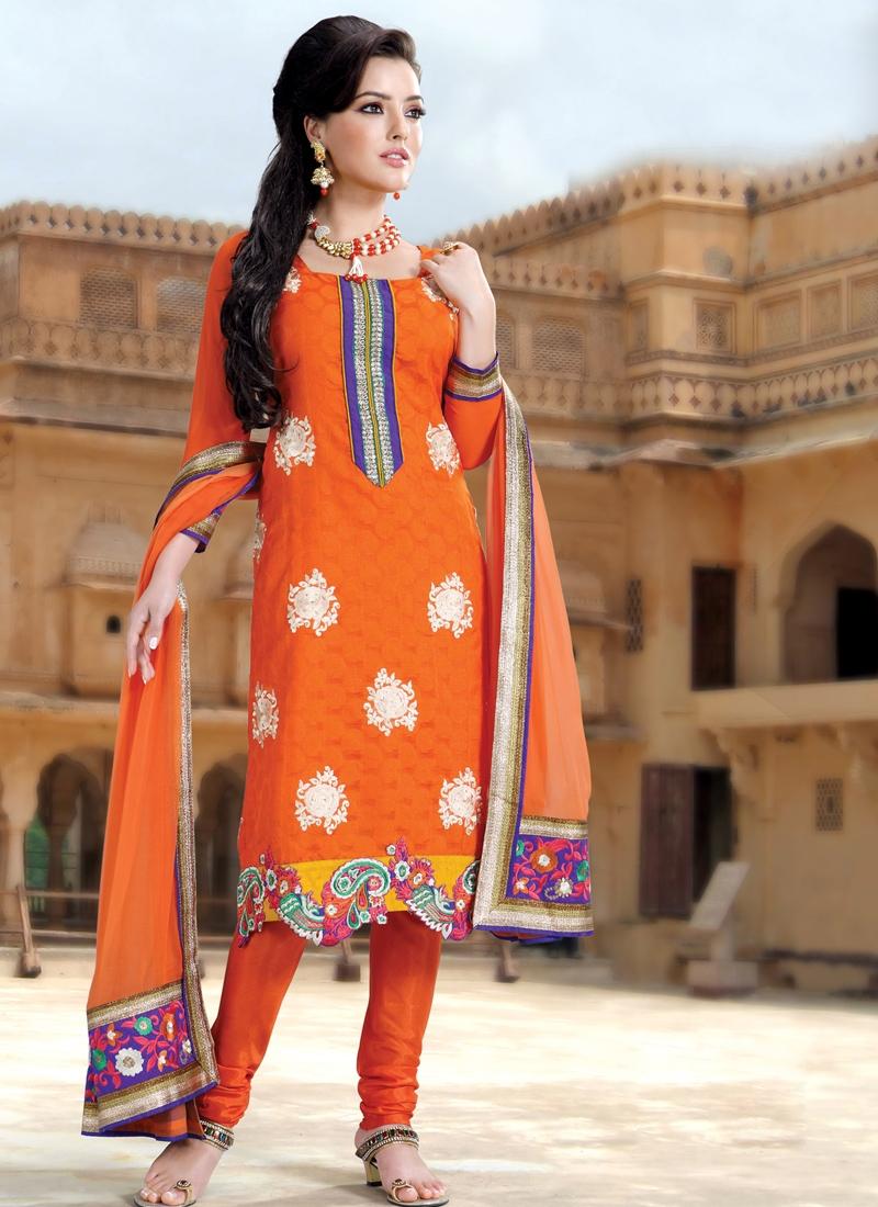 Sensible Orange Churidar Salwar Kameez