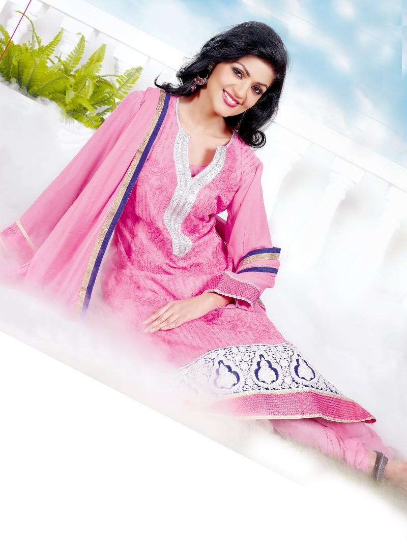 Sensible Pink Color Georgette Churidar Suit