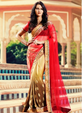 Sensible Red And Brown Color Net Half N Half Wedding Saree