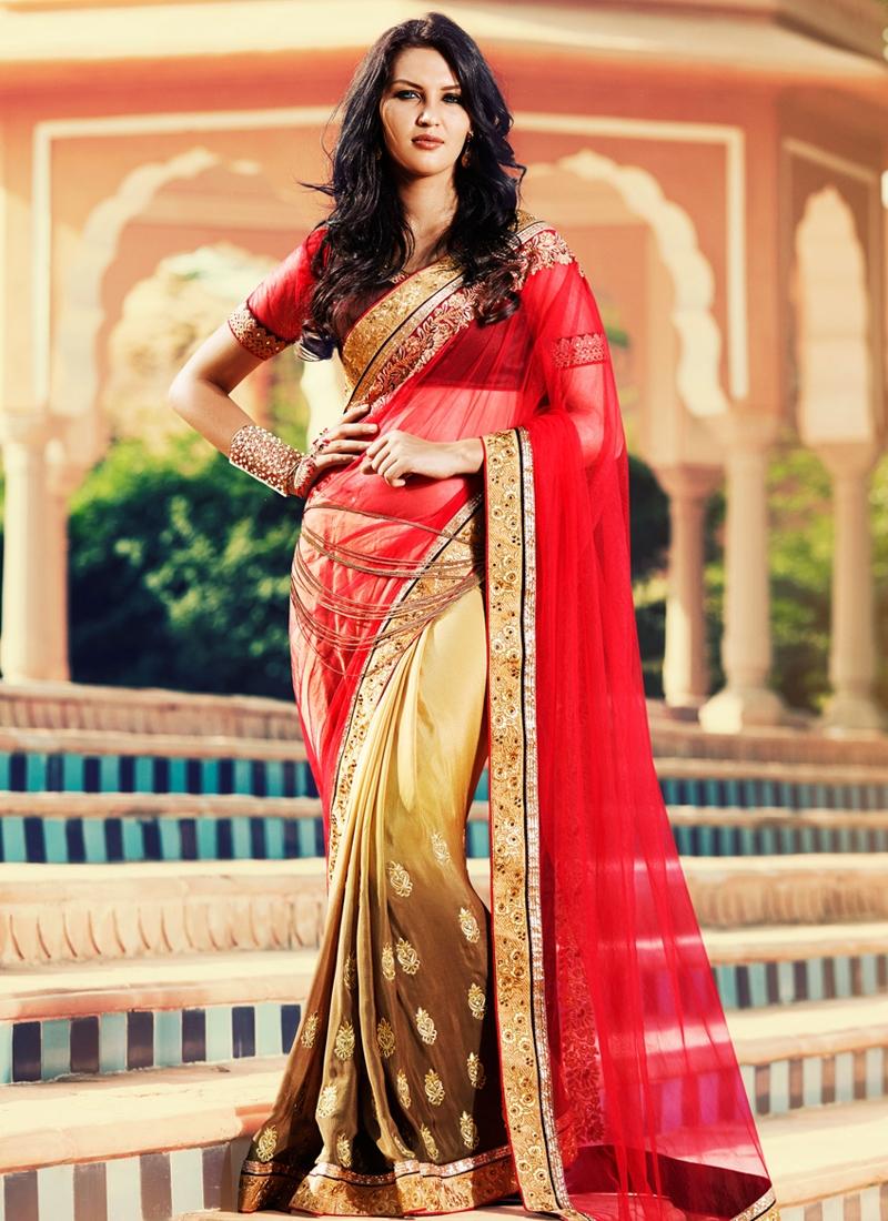 Sensible Red And Brown Color Net Half N Half Wedding Saree