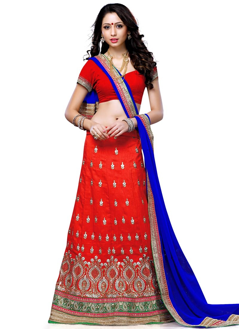 Sensible Red Color Art Silk Wedding Lehenga Choli