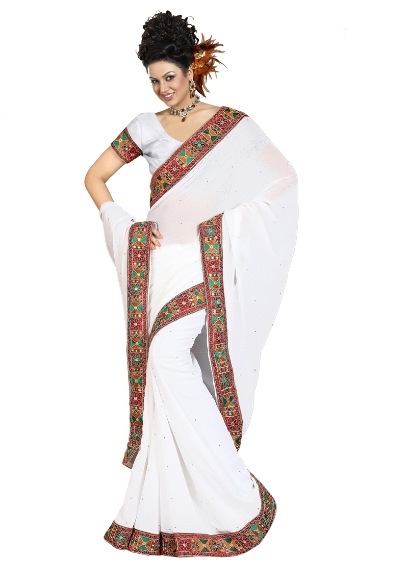 Sensible White Color Faux Chiffon Casual Saree