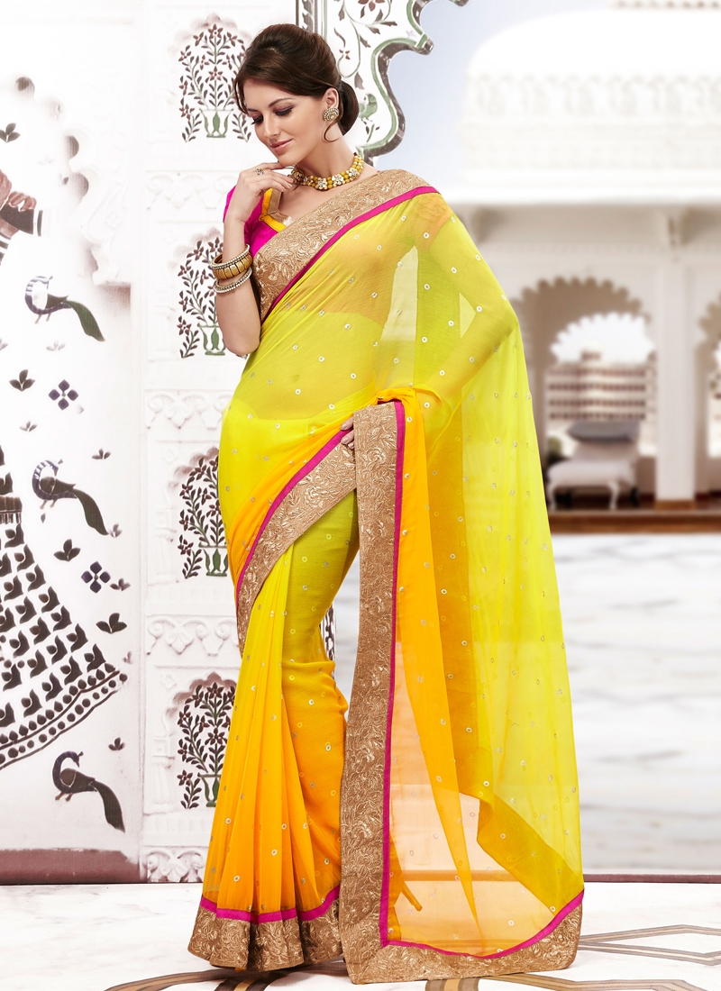 Sensible Yellow Color Lace Work Party Wear Saree