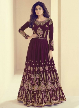 Shamita Shetty Art Silk Floor Length Anarkali Salwar Suit