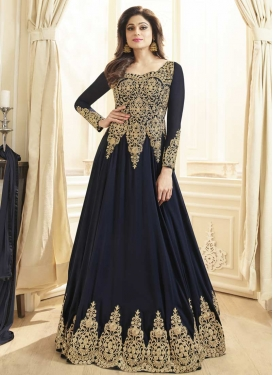 Shamita Shetty Booti Work Floor Length Anarkali Salwar Suit