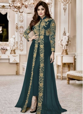 Shamita Shetty Cord Work Pant Style Designer Salwar Kameez