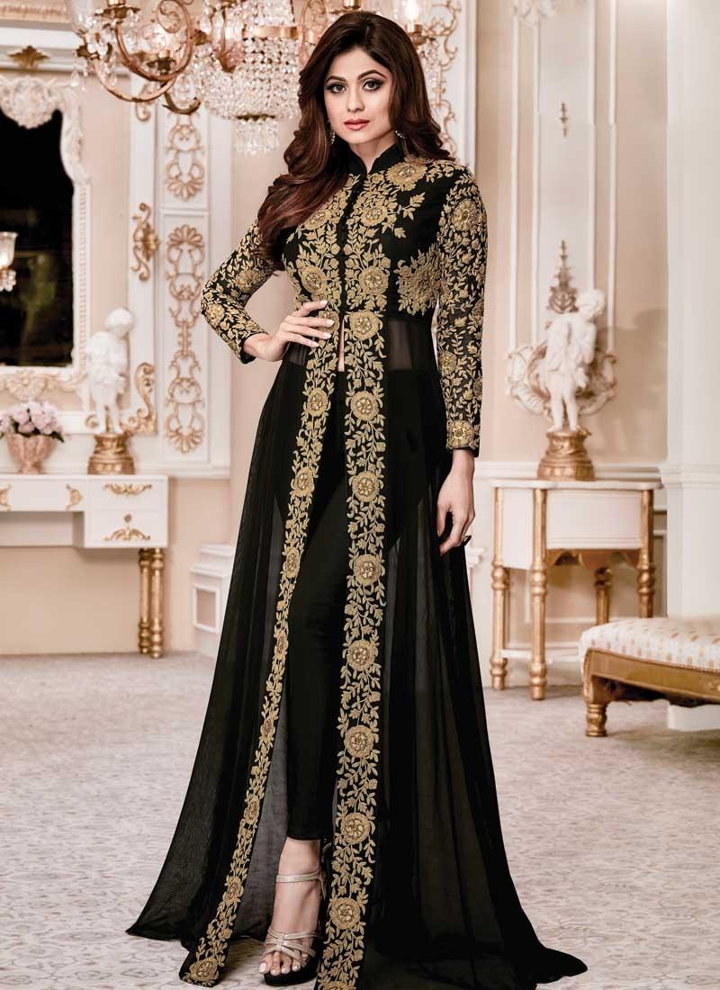 Shamita Shetty Cord Work Pant Style Salwar Kameez