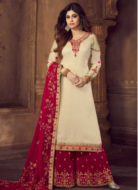 Shamita Shetty Cream and Red Embroidered Work Palazzo Style Pakistani Salwar Suit