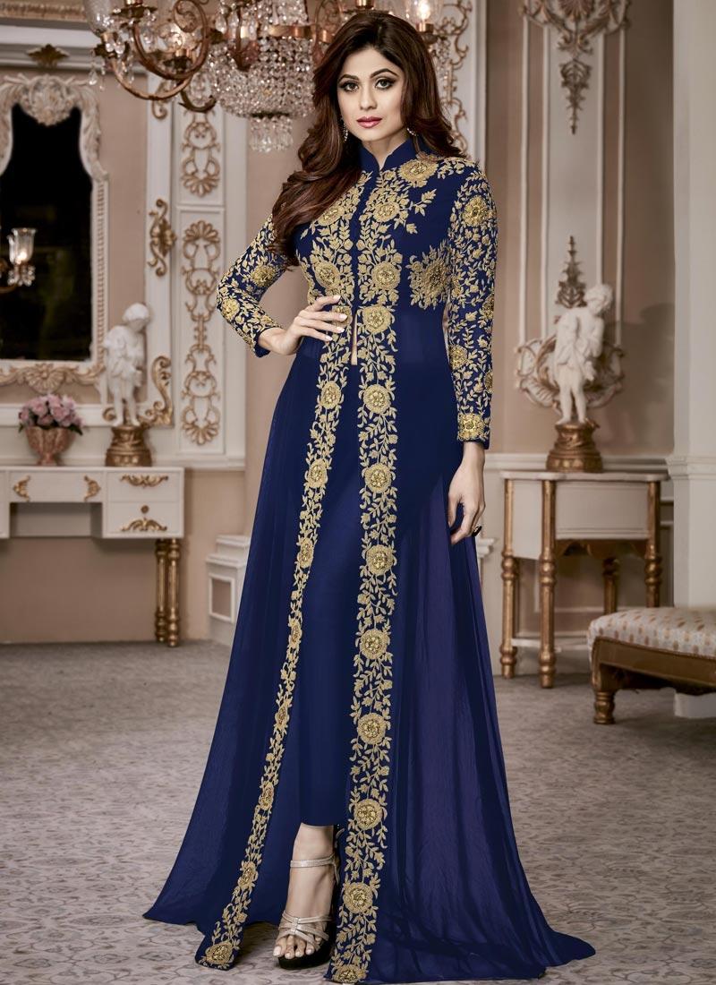 Shamita Shetty Designer Salwar Kameez For Ceremonial