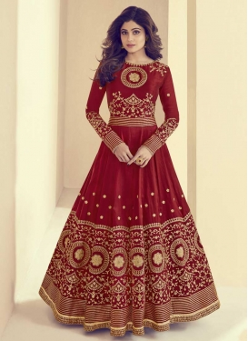 Shamita Shetty Embroidered Work Anarkali Salwar Kameez