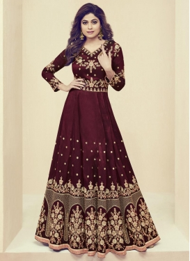Shamita Shetty Embroidered Work Art Silk Long Length Anarkali Salwar Suit