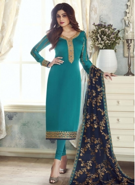 Shamita Shetty Embroidered Work Churidar Salwar Suit