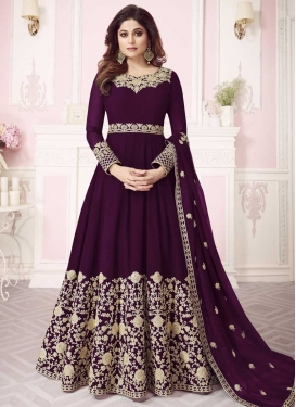 Shamita Shetty Embroidered Work Floor Length Anarkali Suit