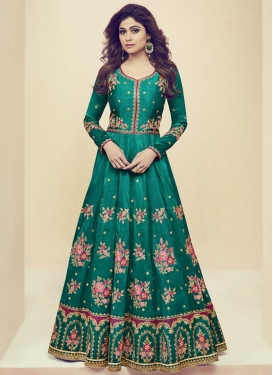 Shamita Shetty Embroidered Work Floor Length Salwar Kameez
