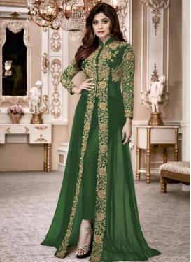 Shamita Shetty Embroidered Work Long Length Designer Suit